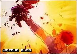 Usando seu poder adormecido, Broly salva a si próprio e ao pai da explosão.