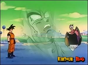 Antes de morrer, Bardock tem sua última visão. Goku e Frieza em Namek.